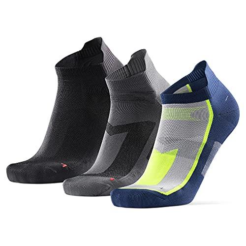 DANISH ENDURANCE Chaussettes de Running Basses pour Homme et Femme, Socquettes, 39-42, Multicouleurs (1x Noir, 1x Bleu/Jaune Fluo, 1x Gris), Lot de 3
