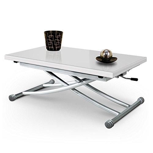 Table Basse Relevable Mirage Dessus Verre Blanc Piston à Gaz