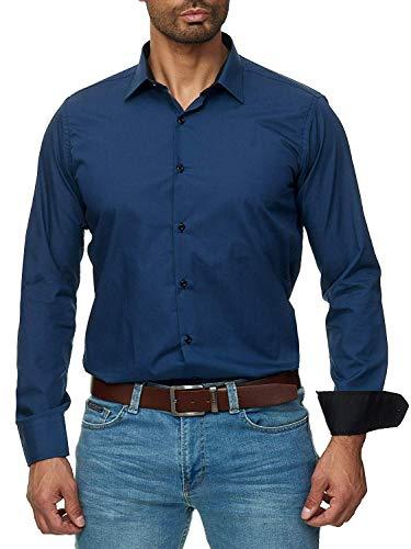Gdtime Homme Chemise Manches Longues sans Repassage Facile Slim Fit Uni Infroissable (Bleu,...