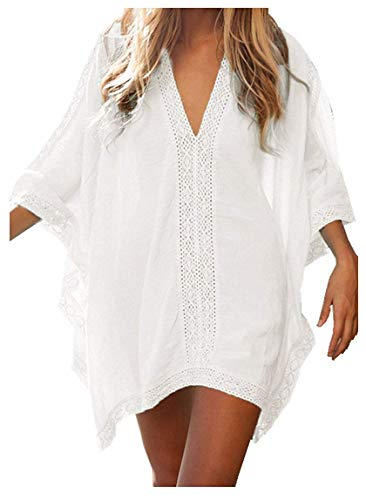JFAN Robe de Plage pour Femmes V-Cou Une Bikini Cache-Maillots Taille Unique Coton Mélangé Dentelle Chemise Robe Couvrir Beach Maillots de Bain Bikini Cover Up, Blanc, Taille Unique