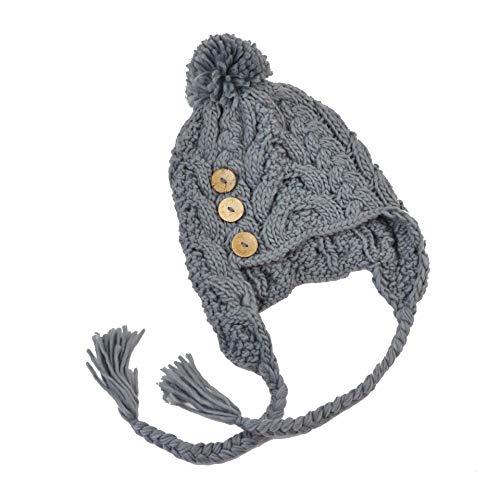 Générique Bonnet péruvien torsadé Taille Unique avec 3 Boutons Chaud Trapper Torsade Neuf Froid Hiver Femmes Ski Neige ref:1541 (Gris)