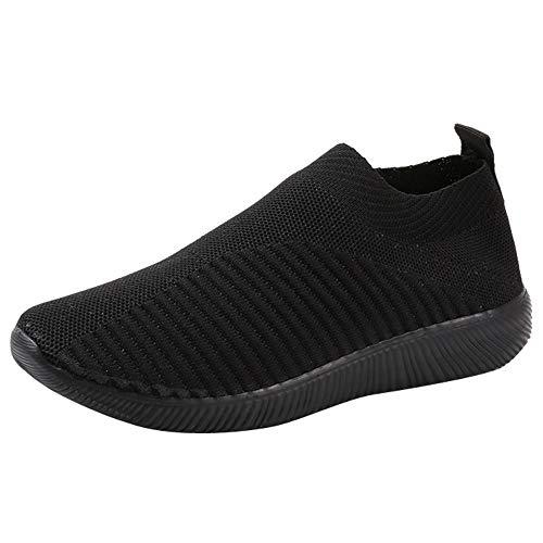 Chaussures Femme Ete Confortable Pas Cher Soldes Baskets Basses Plate Running Jogging Sport Respirant Mesh Chaussette Fille Tennis Sneakers (Noir, Numeric_40)