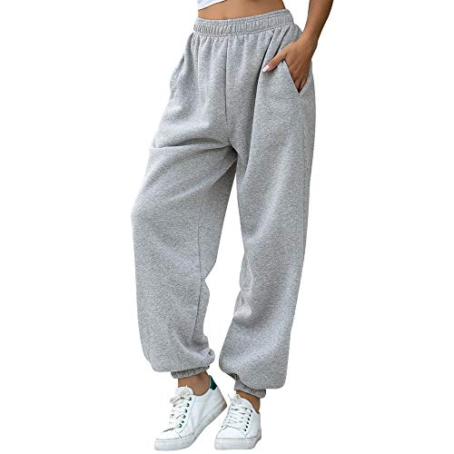 Nuofengkudu Femme Molleton Chaud Sarouel Jogging Pantalon Uni Ample avec Poches Elastique...