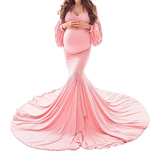 FYMNSI Robe de grossesse élégante pour la photographie - Épaules dénudées - Manches longues - Pour femme - Longueur du sol - Rose - Small