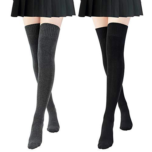 2 Paires de Chaussettes Hautes Montantes en Coton pour Femmes, Chaussettes Longue de Genoux Solide Décontractées (Noir + Gris Foncé) prix et achat