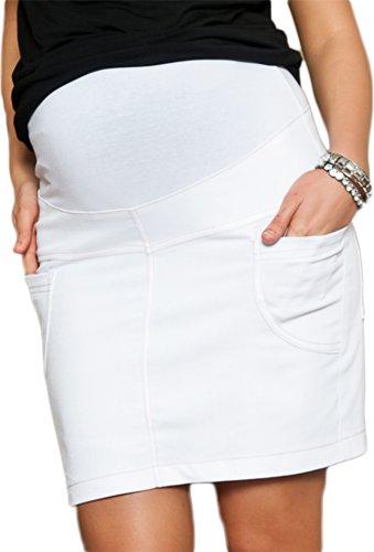 Mija - jupe de grossesse et de maternité Denim Jeans décontractée 9060 (EU 42, Blanc)