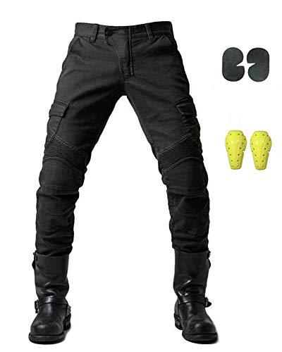 GELing Protection Moto Pantalon Jeans Moto Pantalon d'Équitation avec Protéger Pads,Noir,L