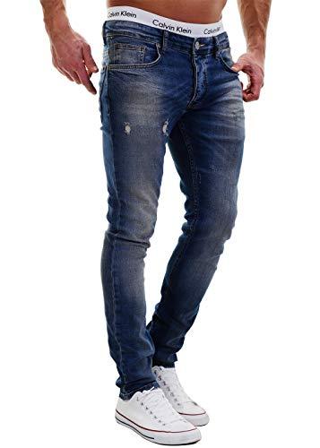 Merish 2081-1001 Jean Destroyed, pantalon slim, en denim, pour homme, coupe ajustée - Bleu -...