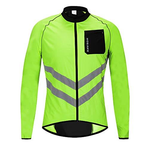 WOSAWE Hommes Vestes de Cyclisme Coupe-Vent Imperméable Vélo Vêtements Manches Longues VTT Manteau (BL218 Vert L)