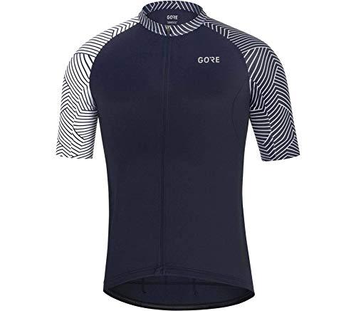 GORE WEAR C5 Homme Maillot de Cyclisme à Manches Courtes, L, Bleu Marine/Blanc