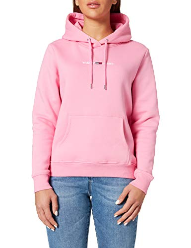 Tommy Jeans TJW Linear Logo Hoodie Sweater, Marguerite Rose, XS Femme