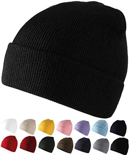 SQUATCH®   Bonnet Ultra Doux et Confortable   Maille Jersey 100% Laine Acrylique   Taille Unique Homme Femme Enfant   14 Couleurs (Noir)