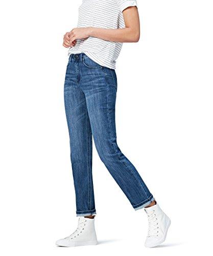 Marque Amazon - find. Jean Droit Taille Normale Femme, Bleu (Mid Wash), 30W / 32L, Label: 30W / 32L