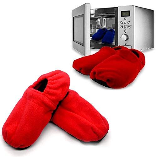 Chaussons Chauffants - Pantoufles de Maison Chauffables au Micro-ondes - Graines de Lin amovibles et chauffables au micro-ondes - Rouge Bleu Léopard Dalmatien - Taille 36 - 42 (rouge) prix et achat