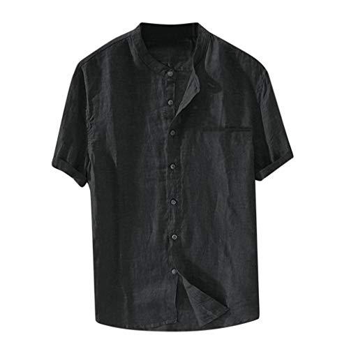 KPPONG Chemise Homme en Lin,Été T-Shirt Manches Courtes Slim Fit Couleur Unie Col Mao Boutons...