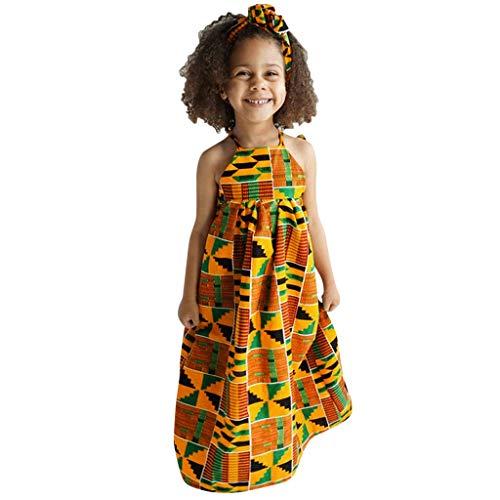 Tutu Bebe Fille,Enfant en bas âge bébé filles imprimé africain hors épaule bandeau princesse robe décontractée