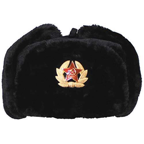 MFH Russian Winter Cap Noir avec insigne Taille L