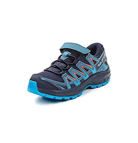 SALOMON XA Pro 3D CSWP K, Chaussures de Trail Femme, Bleu/Orange (Navy Blazer/Mallard Blue/Hawaiian Surf), 30 EU