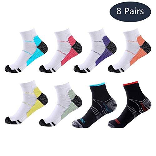 Meowoo 8 Paires Chaussettes de Compression pour Homme et Femme Chaussettes Sport Courte pour Sportive, Cyclisme, Fitness, Voyage (S/M)