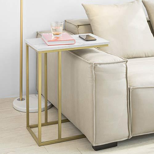 SoBuy FBT87-G Table d'Appoint Moderne Bout de Canapé à Café Table de Chevet Effet Marbre Structure en Métal Doré