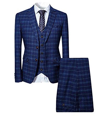 Costume Homme 3 Pièces Tuxedo Slim Fit à Carreaux Deux Boutons d'affaire Mariage Trois...