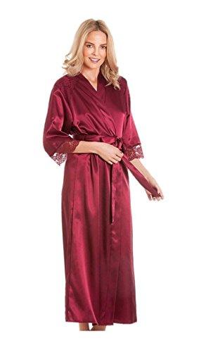 Robe de chambre en satin pour femme - Pour kimono - Housse de protection - Plus la taille - Rouge - 50-52