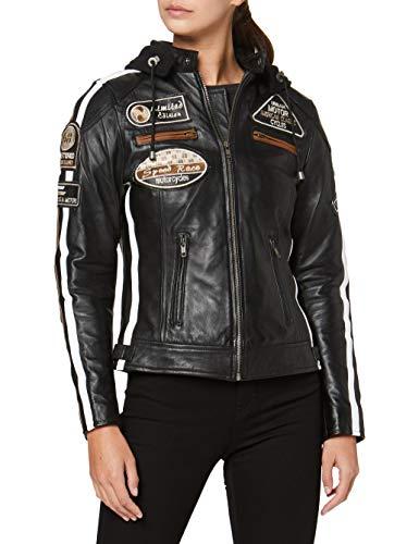 Urban Leather 58 Veste de Moto avec Protections - Femme - Noir - M/40