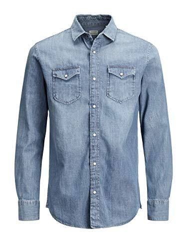 Jack & Jones Jjesheridan Shirt L/s Chemise en Jean, Bleu (Medium Blue Denim Fit:Slim), Large...