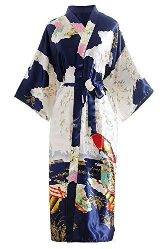 YAOMEI la mariée Demoiselle d'honneur Kimono Robe Femmes, Femmes Chemises de Nuit Fleurs de Geisha, Soyeux Robe Peignoir en Satin Pyjamas S-2XL (Buste: 126cm, pour S à 2XL, Bleu)