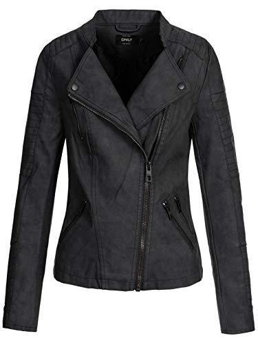 Only Onlava Faux Leather Biker Otw Noos, Carmakoma en Similicuir, Veste Femme, Gris (Black), 42...