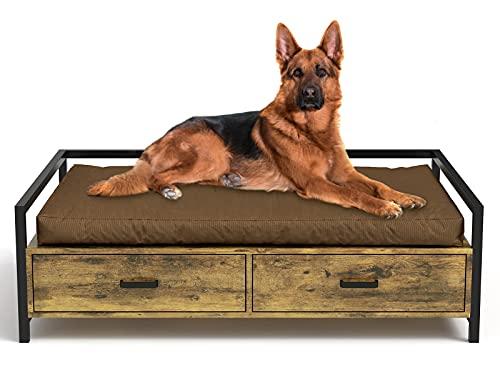 MSmask Lit pour chien avec tiroir, canapé pour chien/lit pour chien, plate-forme cadre de lit pour petits, moyens, grands chiens
