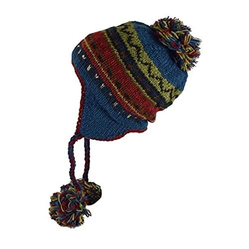 La Boutik de Satyam Bonnet Péruvien Motif Bagan Ton Pétrole - Bleu Pétrole, TU (Taille Unique)