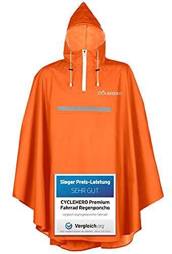 Vêtement de pluie à capuche pour cycliste de qualité supérieure avec fenêtre de vue, Poncho de vélo pour homme et femme avec bandes réfléchissantes, Imperméable, Orange, m