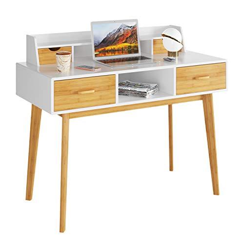 HOMECHO Bureau d'Ordinateur,Table Informatique avec étagères de Bureau, avec 4 Tiroirs PC Table en Bambou, pour Travailler ou Étudier, 108 x 52 x 91 cm