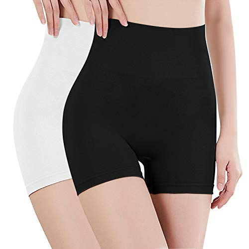 Libella - Culotte Panty Femme - Effet Ventre Plat - sans Couture - correcteur Taille Haute - 3605 Noir + Blanc M/L