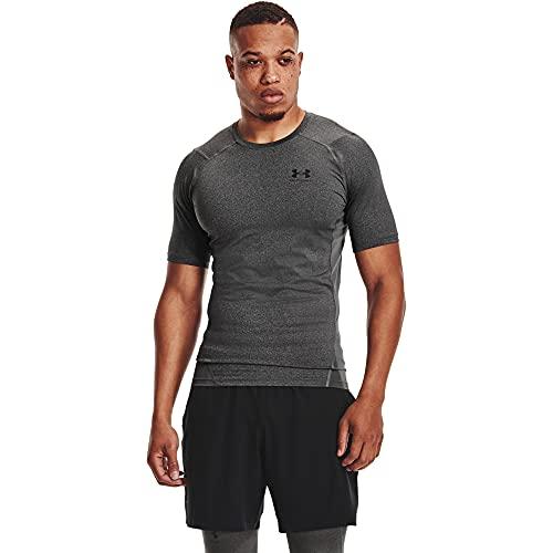Under Armour UA HG Armour Comp SS, T-shirt à manches courtes, T-shirt de compression pour homme Homme, Carbon Heather / Black, M