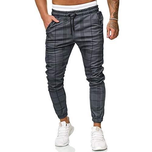 URIBAKY Pantalon Homme Slim Carreaux Impression Pantalon Jogging Bas de Survêtement Sweat Pants Sarouel Sport Slim Pantalon de Travail Pantalons Danse Pants Jogger Homme Pantalon de Travaille