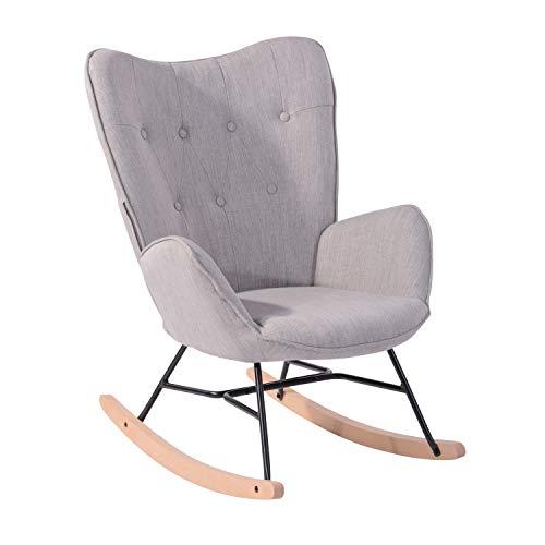 MEUBLE COSY Fauteuil à bascule style Rocking chair - Style Scandinave - Tissu gris clair - Pieds en véritable bois de hêtre - 68x 85x96cm , Gris Tissu /Gris Tissu