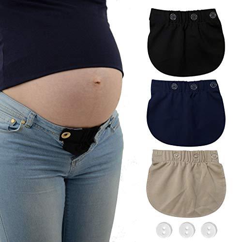AYE Extenseur Pantalon Ajustables pour Femmes Enceintes, 3 pièces (Noir, Bleu et Kaki)