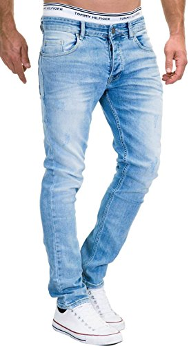 Merish 9148-2100 Jean en denim stretch pour homme Coupe ajustée - Bleu - 34W x 32L