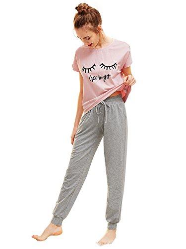DIDK Femme Ensemble De Pyjama avec Pantalon Vêtements d'Intérieur Manches Courtes Vêtements...