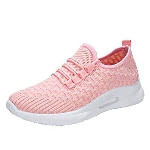 Femmes Baskets Mode Unisexe Chaussures De Sport Running Marche Plate-Forme éTé Pas Cher Chic Mesh Respirant Chaussure Confort Sneakers (36 EU, Rose)