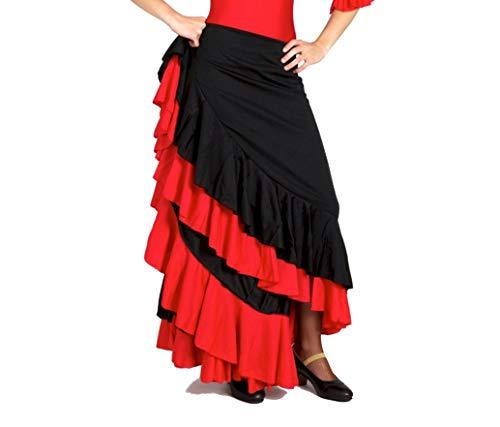 Jupe de flamenco pour enfant avec deux volants sur le dessous. Tissu de qualité supérieure. Fabriqué en Espagne., noir/rouge, 10 ans prix et achat