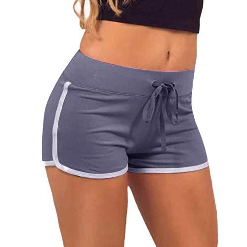 Short de sport d'été pour femme - Short de sport en tissu stretch - Léger - Pour les loisirs et le fitness, gris, M prix et achat