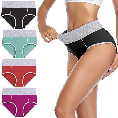 wirarpa Culotte Femme Coton Culottes Taille Haute Slip Sport ,L,Multicolore-c-lot de 4