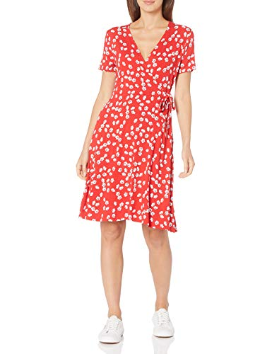 Amazon Essentials Cap-Sleeve Faux-Wrap Dress, Red Tossed Poppy, S