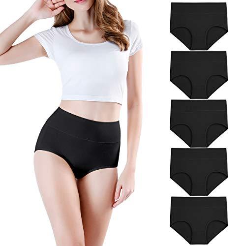 wirarpa Culotte Femme Coton Taille Haute Slips Lot de 5 Noir Taille L