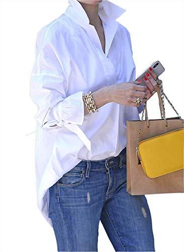 VERA Chemise blanche à manches longues pour femme - Pour les loisirs et les - Blanc - Large
