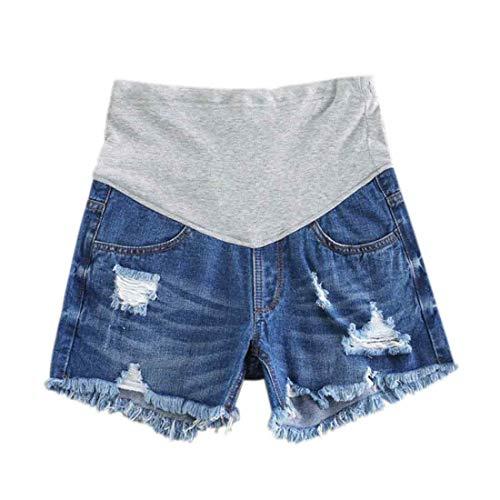 Inlefen Femmes Short en Jean de maternité Short Lounge Grossesse Court Un Pantalon Ajustable...