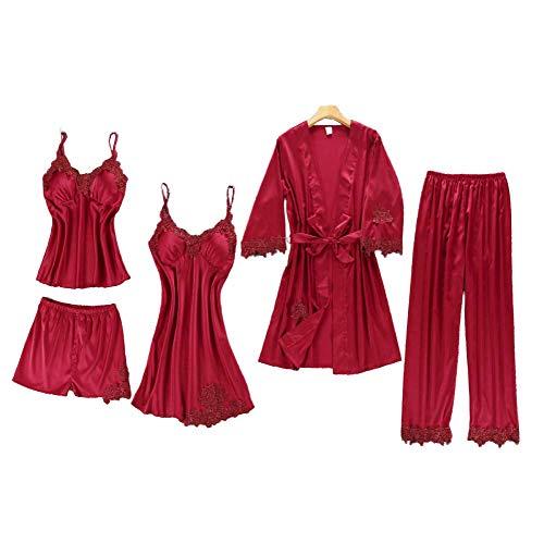 Chongmu Femmes Ensembles de Pyjamas Sexy Dentelle Satin Robe de Nuit Peignoir Couleur Solide 5pcs Chemise de Nuit Cami Col en V